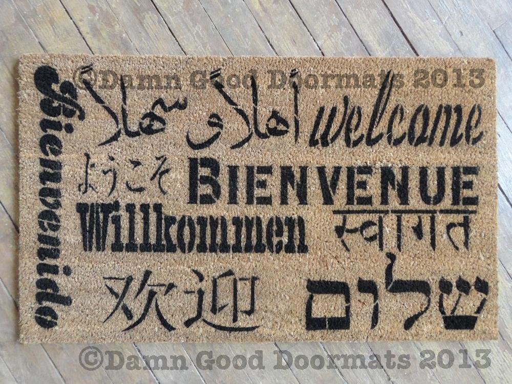 Welcome In All Languages Doormat Damn Good Doormats