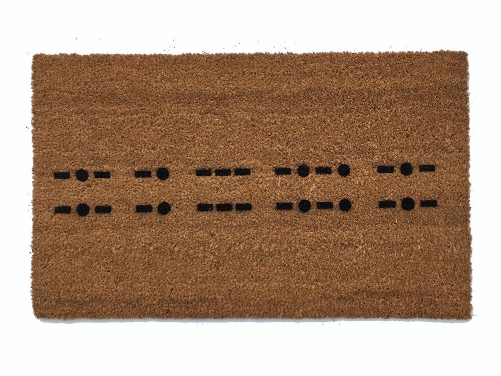 Morse Code Knock Joke Warning Escape Room Nerdy Doormat