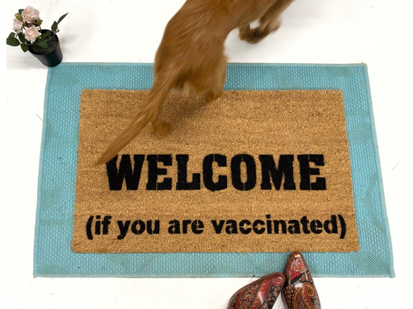 WELCOME if you are vaccinated doormat funny covid entry mat