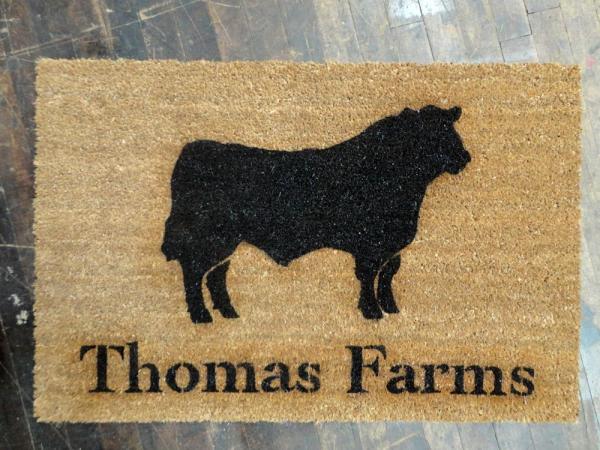 oversized angus bull doormat