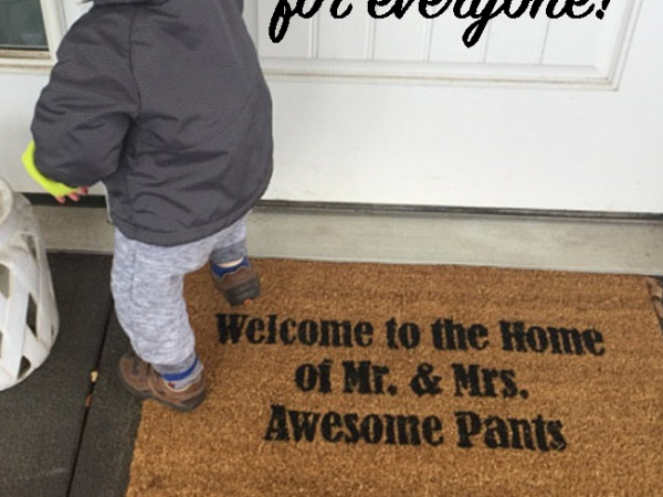 Welcome to the home of Mr. & Mrs. Awesome pants wedding gift doormat