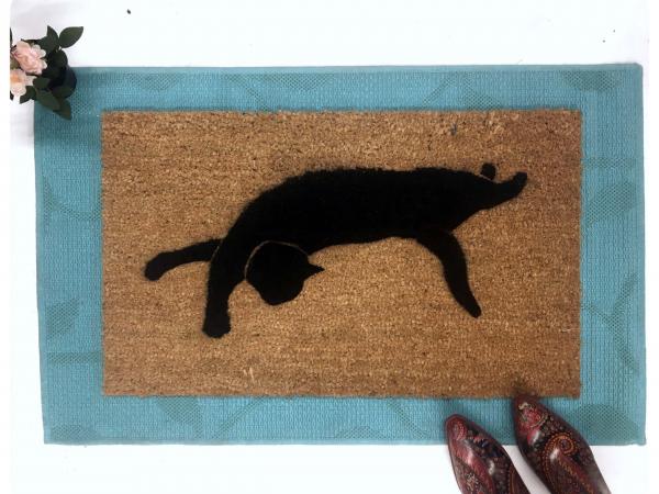 Witch familiar Black cat silhouette doormat Halloween