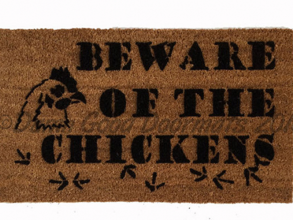chicken beware barnyard farm pig damn good doormat