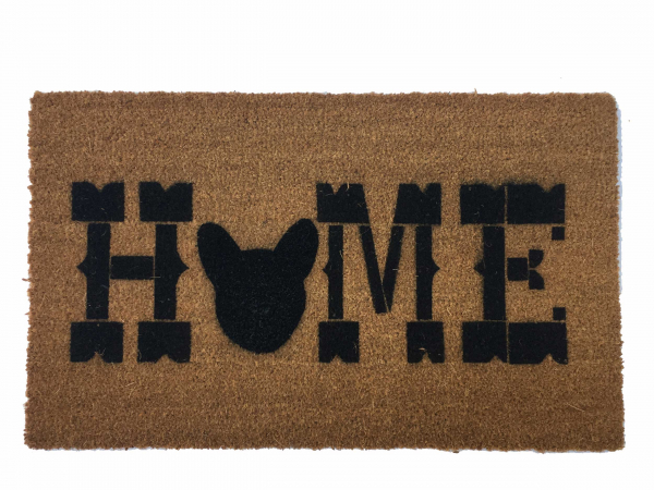 "HOME French Bulldog ""Frenchie"" dog Frenchy squishy face custom door mat"