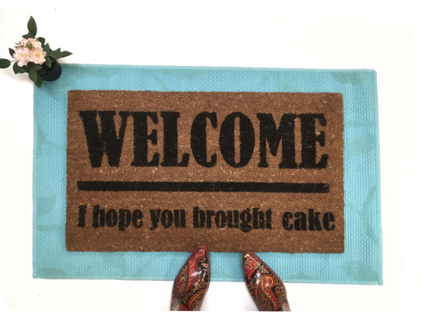 WELCOME! I hope you brought cake. funny great british bake off door mat