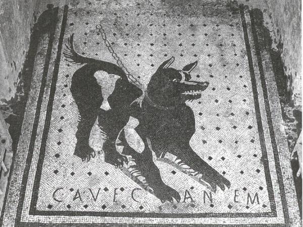 "Cave Canem Roman mosaic ""Beware of Dog"" doomat"