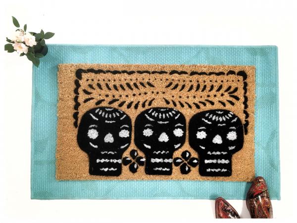 Halloween 3 skulls Mexican Papel Picado Day of the Dead doormat1