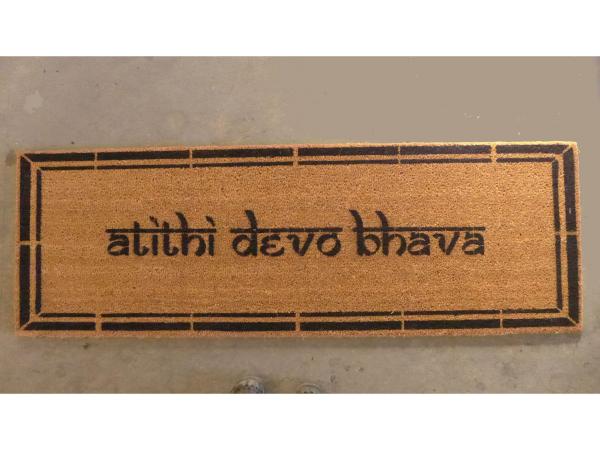 Hindu atithi devo bhava Guests are God Welcome Yoga mat