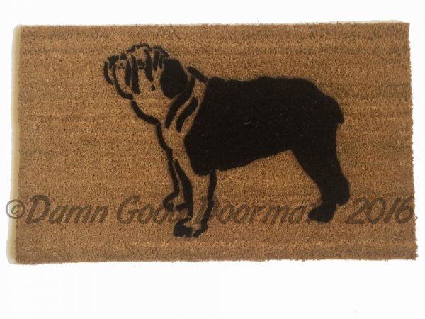 english bulldog dog pet portrait doormat