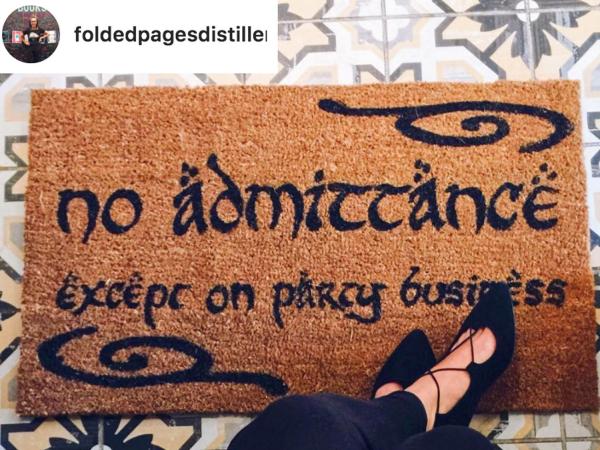 Doormat JRR Tolkien no admittance except on party business LOTR Hobbit doormat