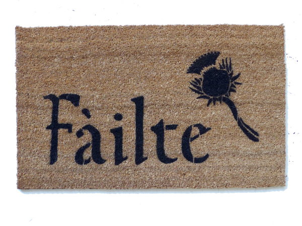 Scottish Fáilte and thistle or Irish Harp doormat
