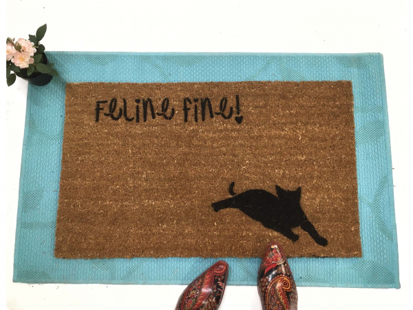 feline fine cat lover doormat