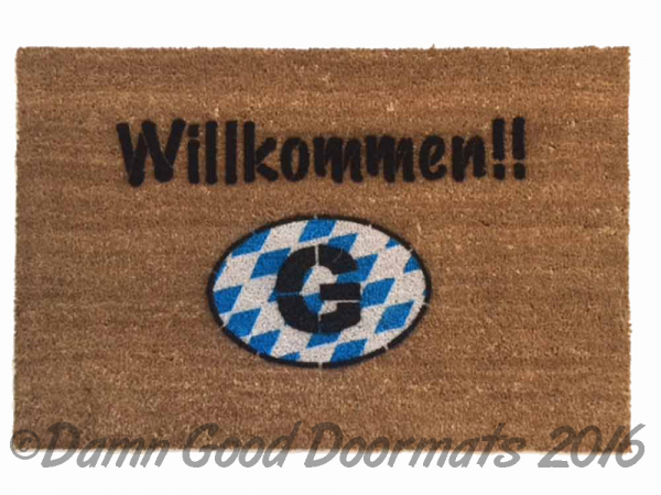 German door mat Willkommen-  welcome in