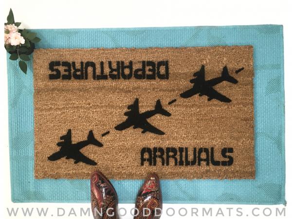 Arrivals Departures funny aviation doormat