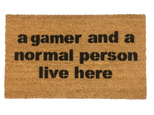 Gamer And A Normal Person Live Here Funny Nerd Doormat