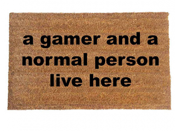 Gamer and a normal person live here, funny nerd doormat