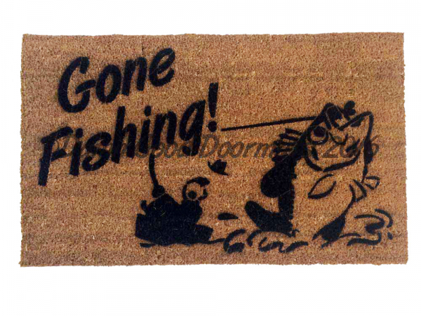 Gone Fishing Lake Beach house retirement gift doormat