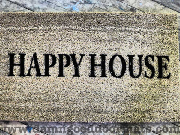 happy house welcome cosy home doormat
