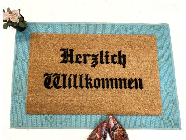 Herzlich Willkommen German Olde style doormat