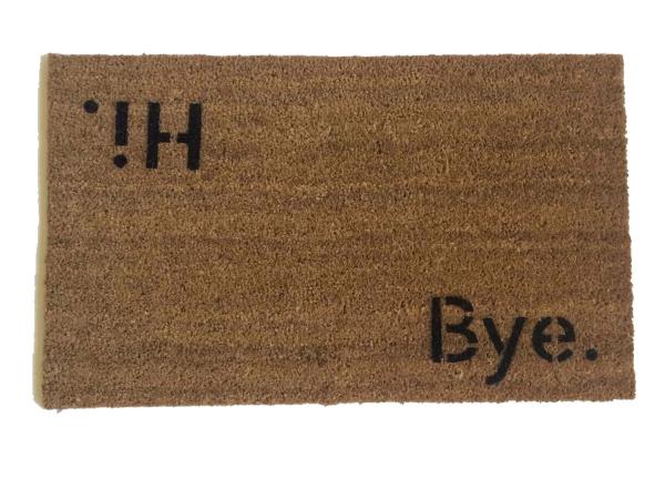 block letter hi bye welcome mat doormat