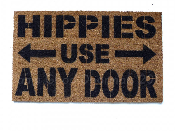 hippies use any door funny doormat