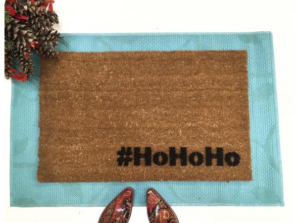 Ho Ho Ho Santa Christmas funny welcome hashtag doormat doormatt