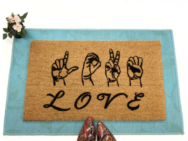 ASL LOVE American Sign Language Deaf culture Welcome damn good doormat