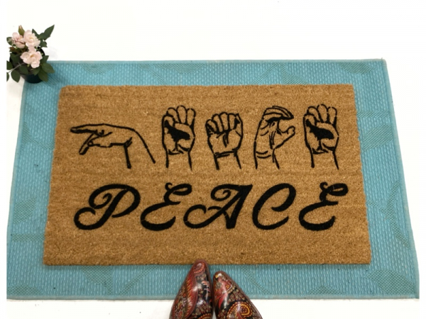 ASL PEACE American Sign Language Deaf culture Welcome damn good doormat