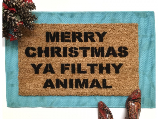 Merry Christmas YA Filthy Animal funny Home Alone doormat