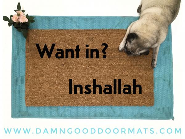 Inshallah funny Arabic Welcome doormat