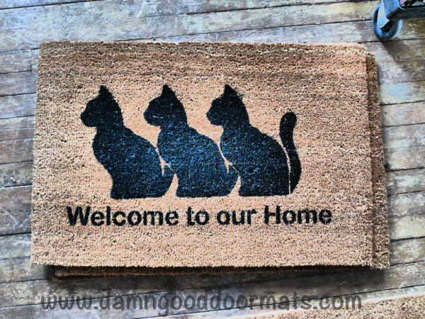 Cats- welcome to our home-  Hand Painted doormat