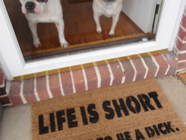 life is short funny french bulldog pug doormat