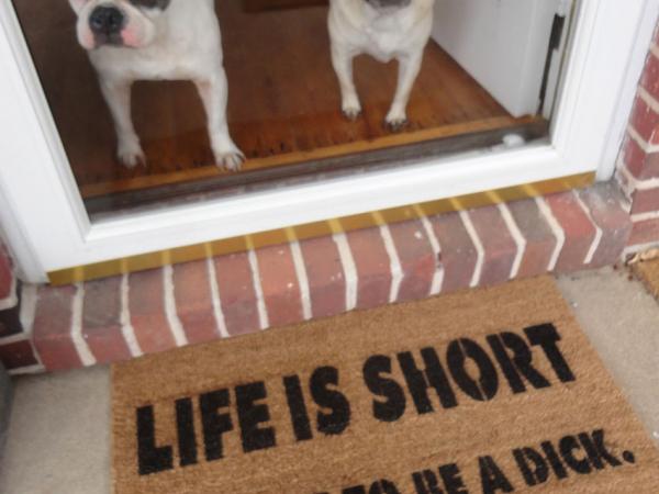 life is short funny french bulldog pug doormat