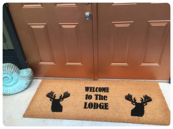 doublewide XL Lodge Deer head Country Farm life style doormat