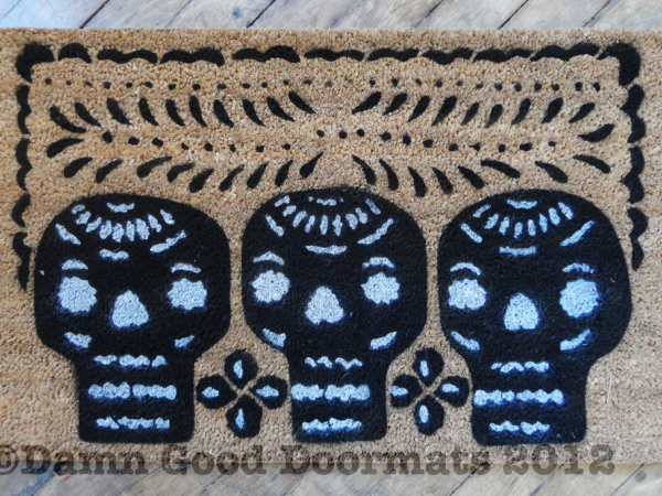 Mexican Day of the Dead doormat. Dia de las Muertos