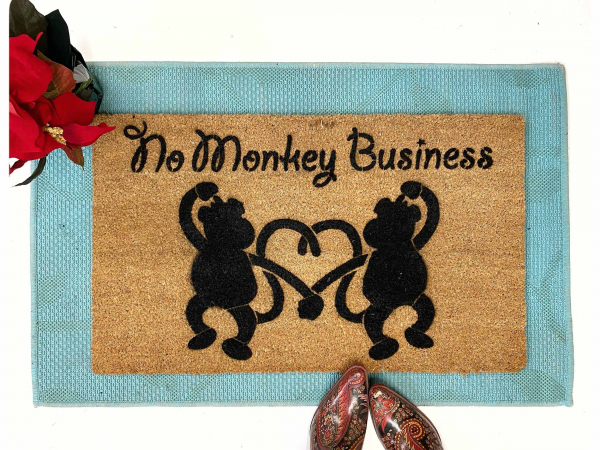 No Monkey Business funny welcome doormat