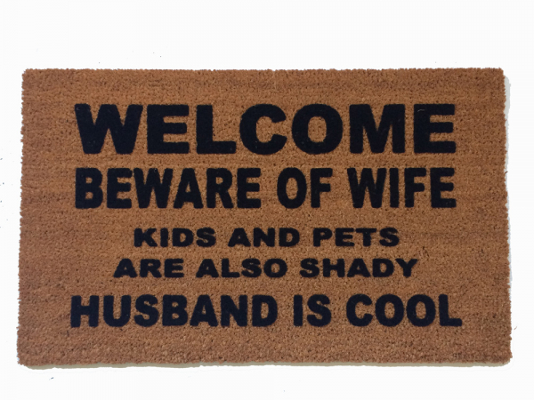 Merveilleux KIDS Beware Of Wife Shady Husband Cool Funny Novelty Doormat