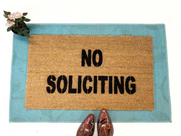 NO SOLICITING funny, rude doormat