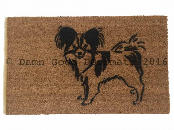 Papillion dog pet portrait doormat
