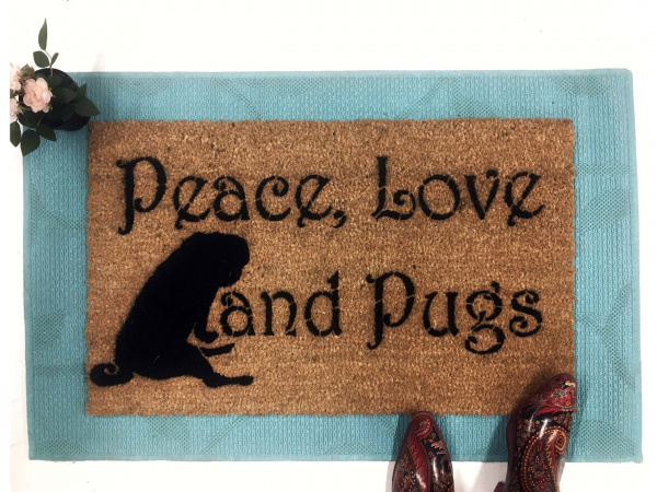 Peace Love & Pugs doormat dog lover gift