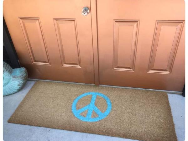 Hippy PEACE sign doormat aqua