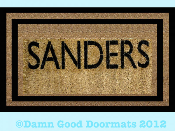 Personalized name Monogram doormat with border- Hand Painted