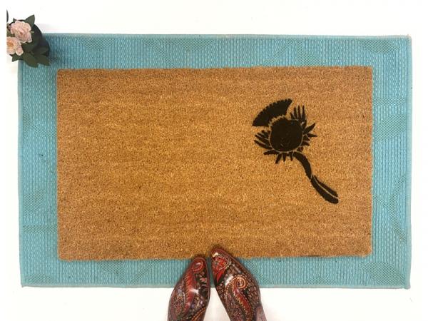 Scottish Fáilte and thistle doormat St Patricks day decor