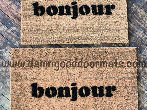 bonjour French good day doormat mustache