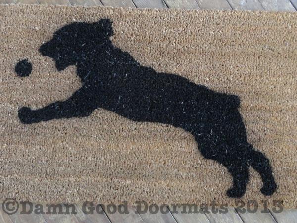 Springer Spaniel catching ball doormat by Damn Good Doormats