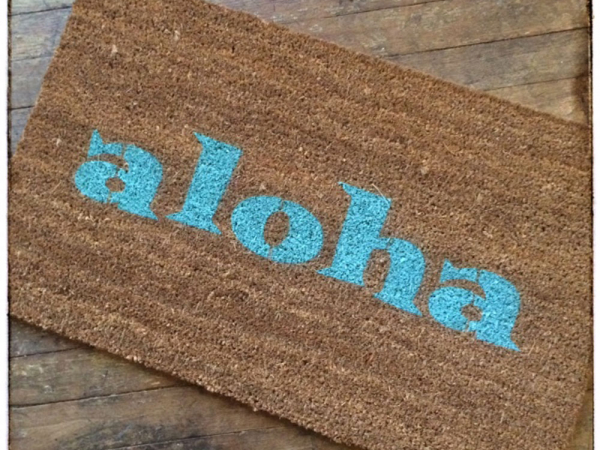 aloha tiki doormat welcome