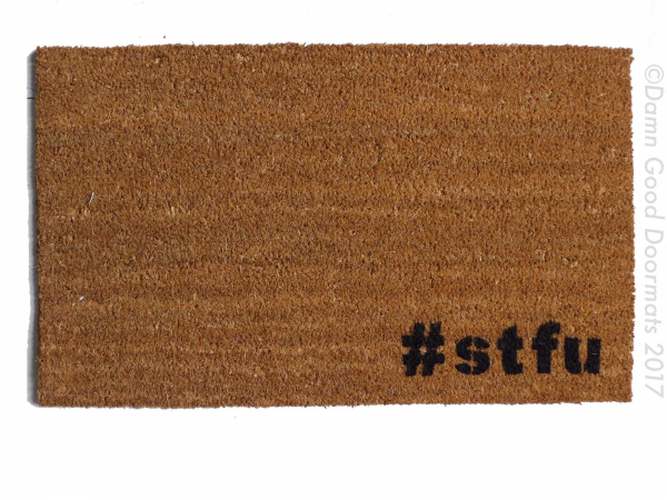 hashtag #stfu go away rude doormat outdoor eco friendly door mat funny hashtag