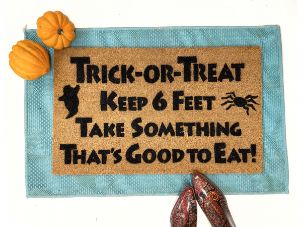 Trick or treat keep 6 feet funny halloween doormat covid 19 coronavirus