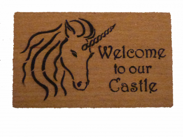 Welcome to our Castle Unicorn Fairy Tale doormat