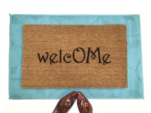 welcome om symbol mantra doormat